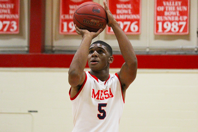 Antwan Ross-Jones had 16 points and two assists off the bench for Mesa in their overtime victory over Tohono O'Odham. (photo by Aaron Webster)