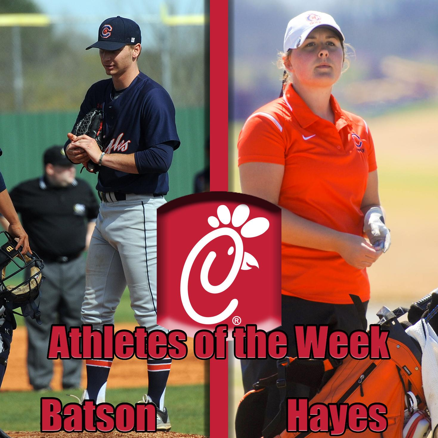 Batson, Hayes named Chick-Fil-A Athletes of the Week