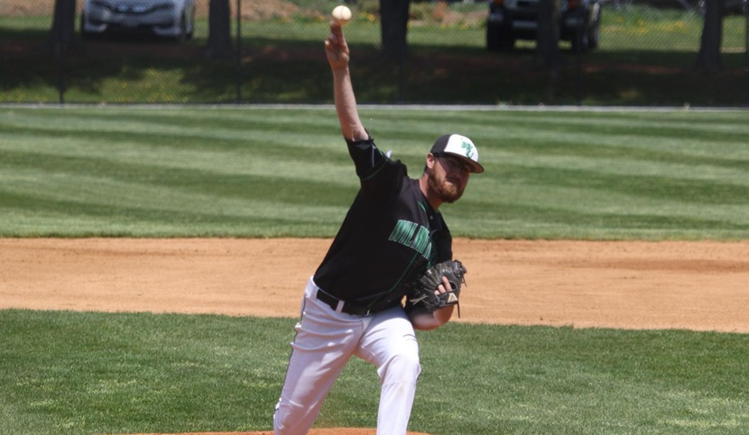 Copyright 2018; Wilmington University. All rights reserved. File photo of Sean Deely who improved to 5-1 with seven scoreless innings against Dominican. File photo by Frank Stallworth, April 26, 2018 vs. Jefferson.