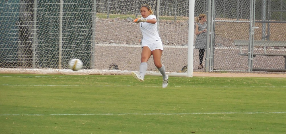 Sophomore goalkeeper Tara Kase had two clutch saves in the final 10 minutes as the Aztecs handed Scotsdale its first loss of the season after Pima's 1-0 win at Kino Norrth Stadium. Photo by Raymond Suarez.