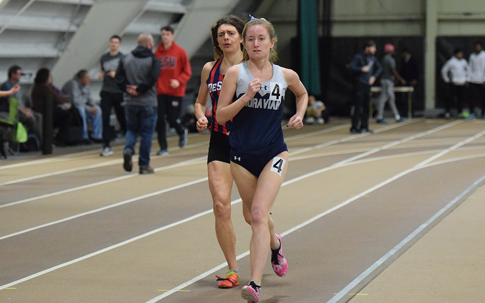 Sophomore Natalie Novotni runs at the Moravian Indoor Invitational at Lehigh University this past January.