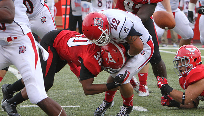 Defense, Hess Lead Football to 59-17 Win Over Duquesne