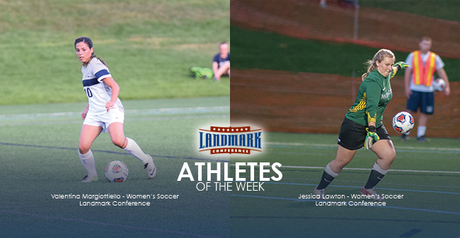 Margiottiello & Lawton Honored as Landmark Conference Women's Soccer Athletes of the Week
