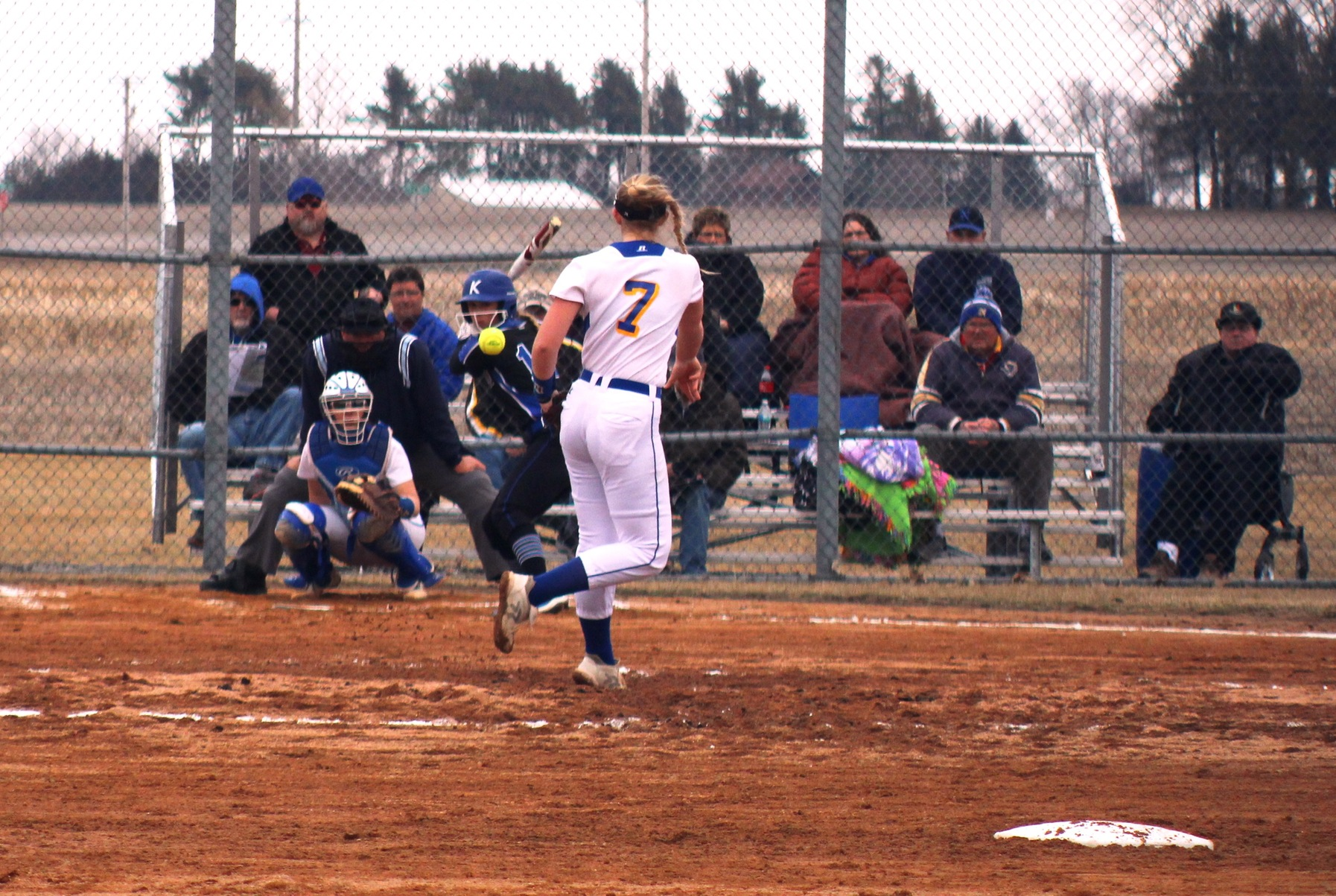 NIACC's Kristen Peka delivers a pitch in Wednesday's doubleheader against Kirkwood. Photo by NIACC's Leo Driscoll.