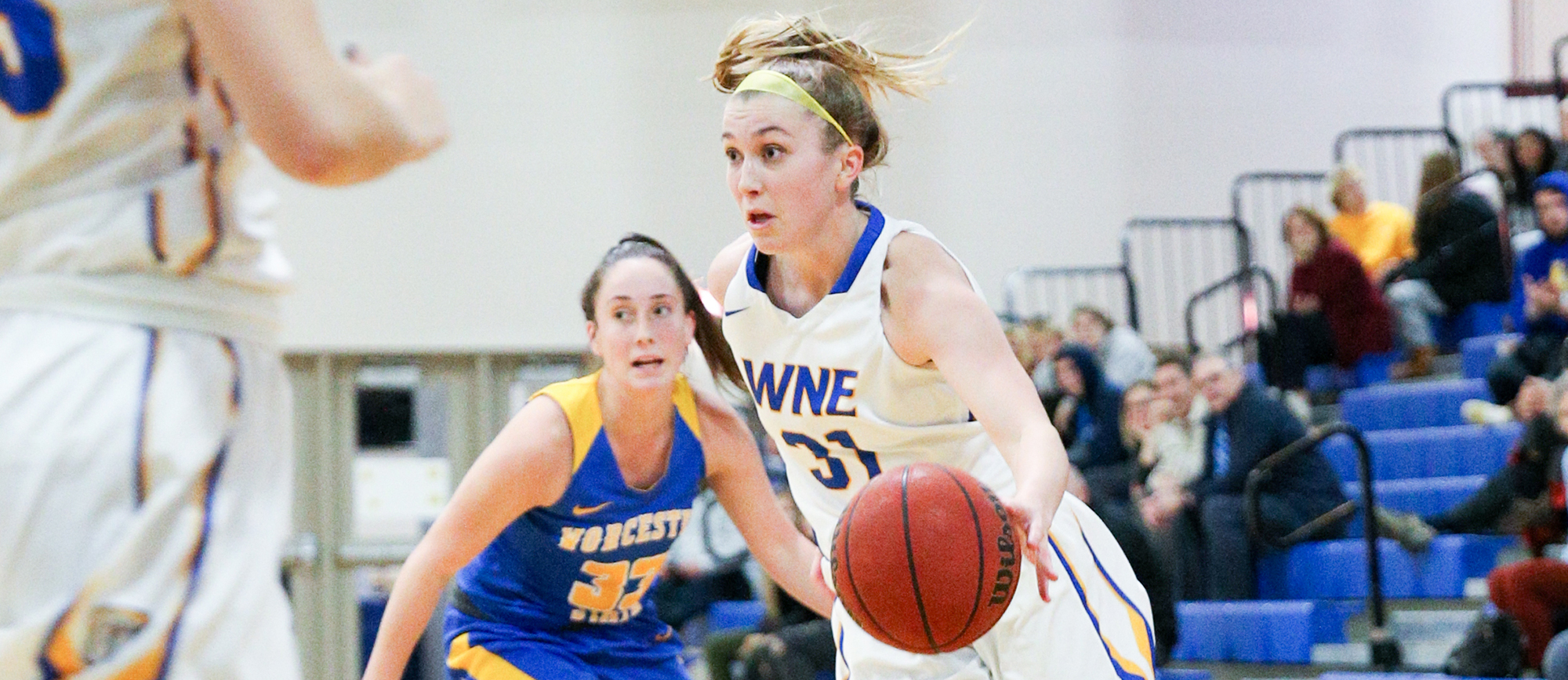 Meghan Orbann registered her 9th career double-double (13 points, 11 rebounds, 4 assists, 1 steal) as Western New England defeated Roger Williams 60-49 on Saturday. (Photo by Chris Marion)