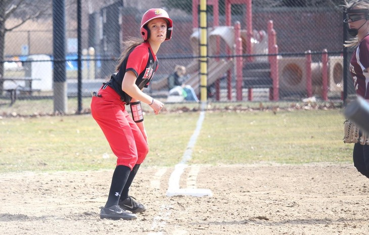 Softball Battles Back to Split at Lesley