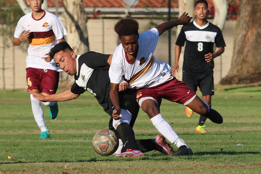 Satchel Robinson (in a file photo from last season) picked up an assist and helped PCC defeat Antelope Valley, 2-0, on Tuesday.
