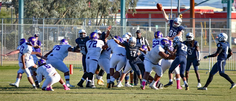 Freshman Jake Smith (#99) came up with the game-saving blocked field goal with less than five seconds left as the Aztecs beat Eastern Arizona College 28-26 on Saturday in Pima's final home game. The Aztecs improve to 6-1 overall and 5-0 in WSFL play. Photo by Ben Carbajal
