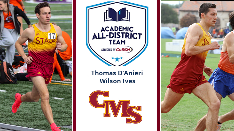Thomas D'Anieri (left) and Wilson Ives (right) with the Academic All-District logo and the CMS logo down the middle