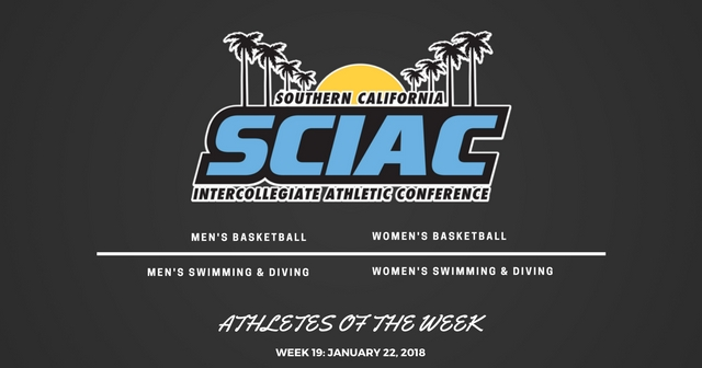 SCIAC Athletes of the Week: January 22, 2018