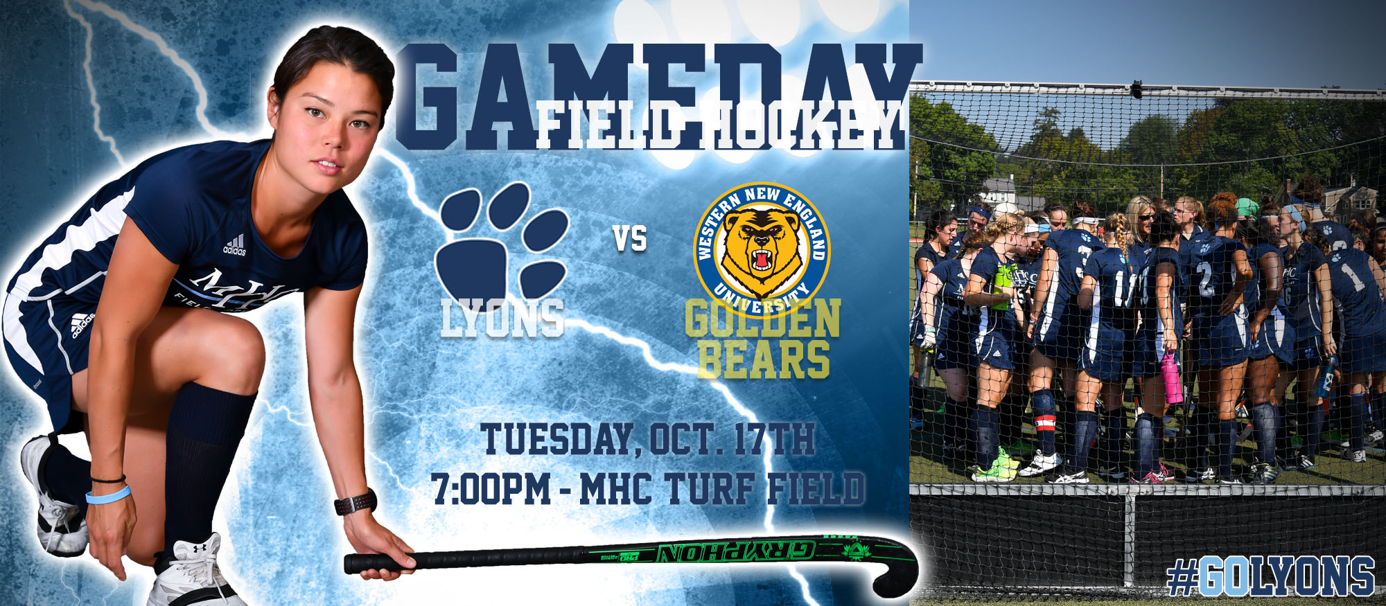 Gameday graphic promoting Tuesday, October 17th's field hockey home match against Western New England. Featured is Lyons field hockey player Liz Delorme.