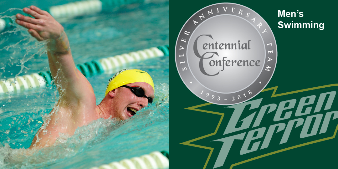Brad Brooks makes the Centennial Conference Silver Anniversary Team for men's swimming.