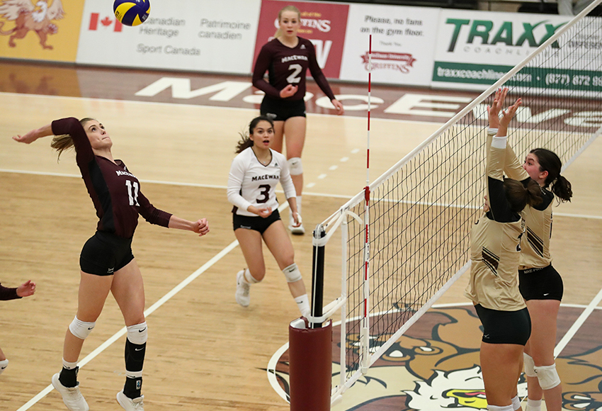 McKenna Stevenson launches into an attack on Saturday. She led the Griffins with 10 kills in their 3-0 win over Manitoba (Eduardo Perez photo).