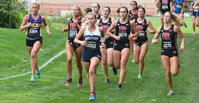 Katie Mayer '20 lead a pack in the season opening Lehigh University Invitational.