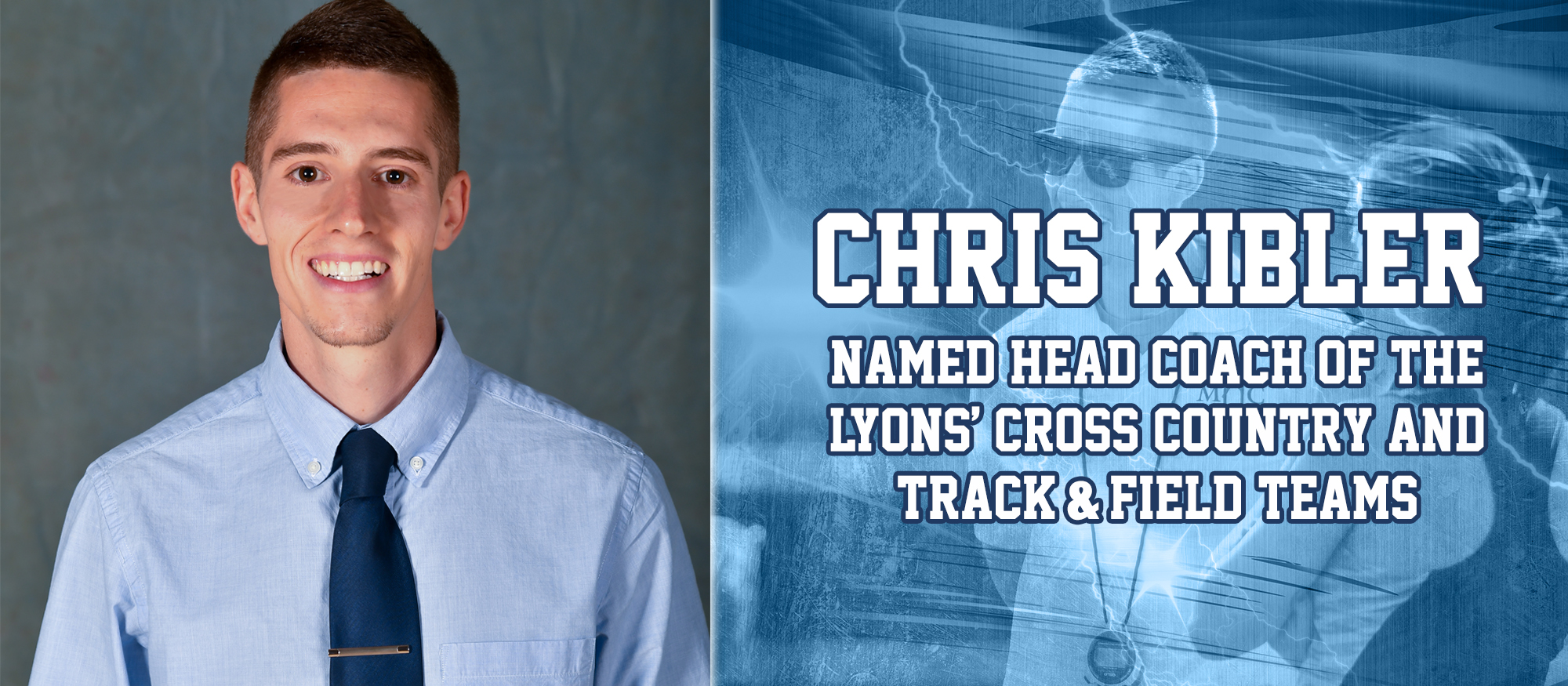 Image announcing Chris Kibler as the Lyons new head indoor and outdoor track & field coach, in addition to head cross country coach.