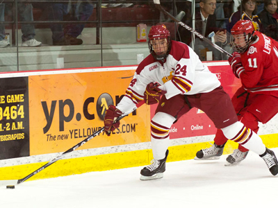 The defense of senior captain Zach Redmond played a key role in Ferris State's league-opening win over Ohio State.  (Photo by Ben Amato)
