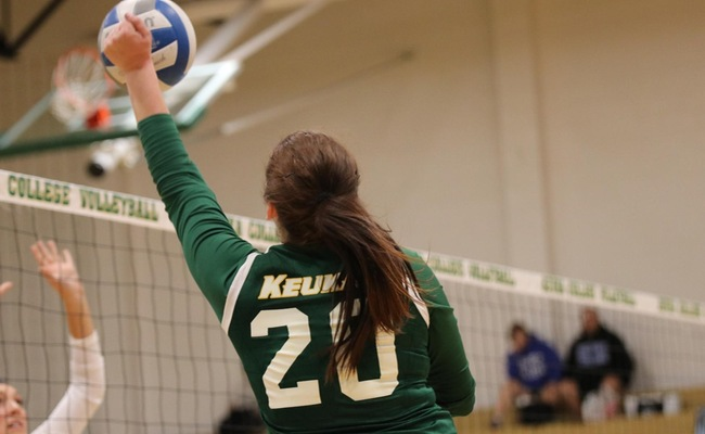 Lauren Moelbert (20) led Keuka with seven kills, seven digs, and seven aces in their win over Hilbert -- Photo by Allison Paulsen