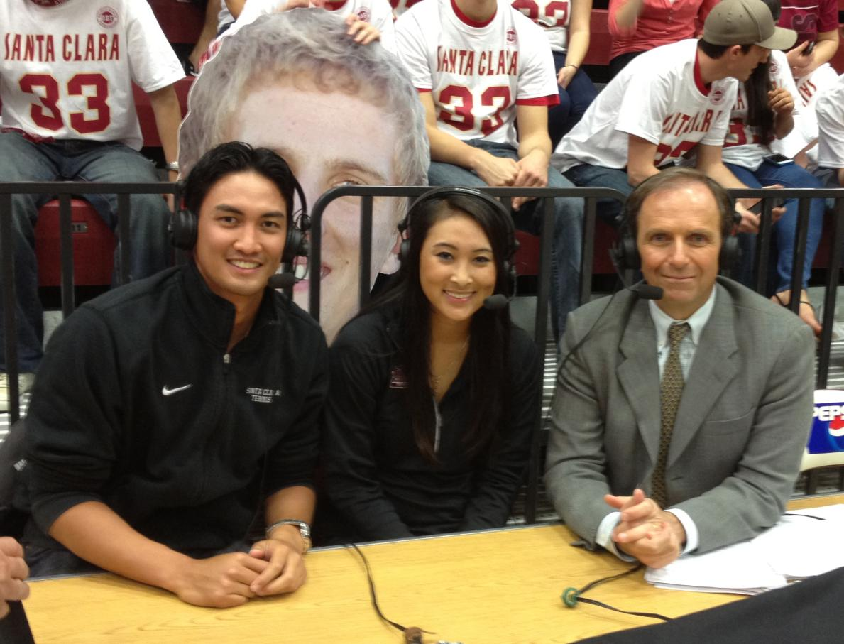 Kyle Dandan and Katie Le Visit With COMCAST's Ted Robinson at Half-Time