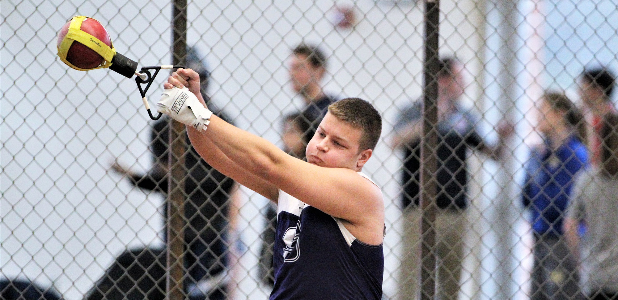 Freshman Phil Cocco recorded a pair of top-20 finishes in throwing events for the Royals on Saturday at the S.U. Challenge. © Photo by Timothy R. Dougherty / doubleeaglephotography.com