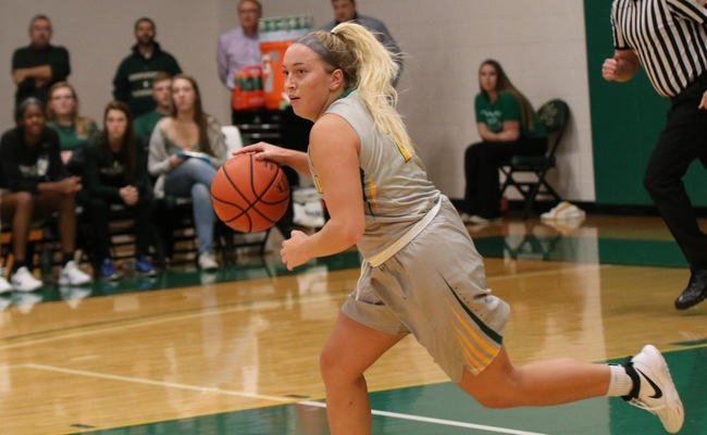 Sam Laranjo (21) led Keuka College with 15 points and 6 assists on Saturday