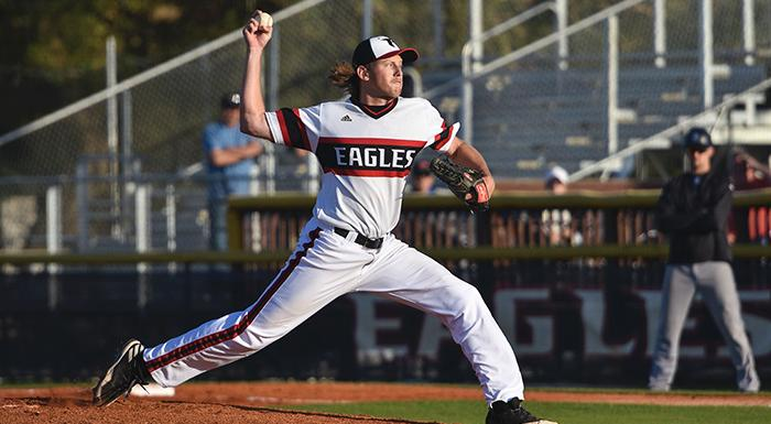 Justin Tworek delivers a pitch against St. Petersburg. He pitched six shutout innings, and the Eagles had 13 hits in a 10-0 vistory. (Photo by Tom Hagerty, Polk State.)