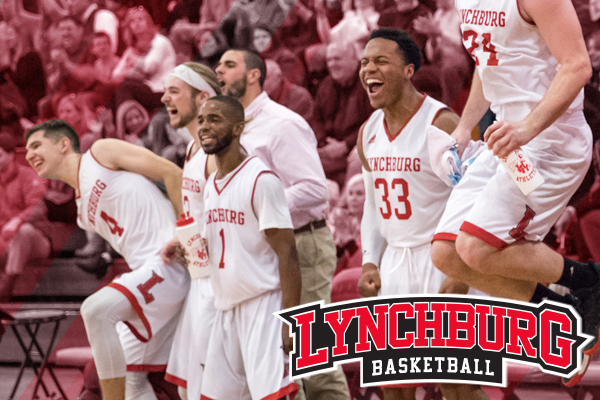 Lynchburg men's basketball players celebrate on the sideline. Logo: Lynchburg basketball wordmark