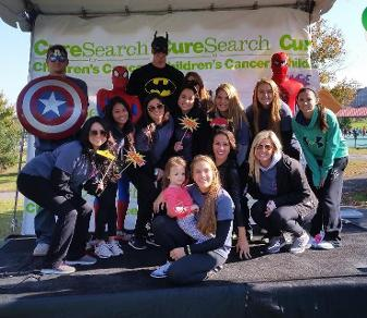 Delaney Kurdyla and Felician sophomore Dyonna Pagliocca (front) pose with Pagliocca's Felician softball teammates at the 2014 New Jersey CureSearch Walk for Children's Cancers.