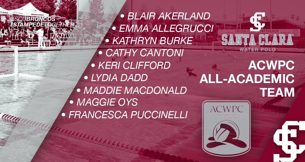 Nine Women's Water Polo Players Honored for Academic Achievement