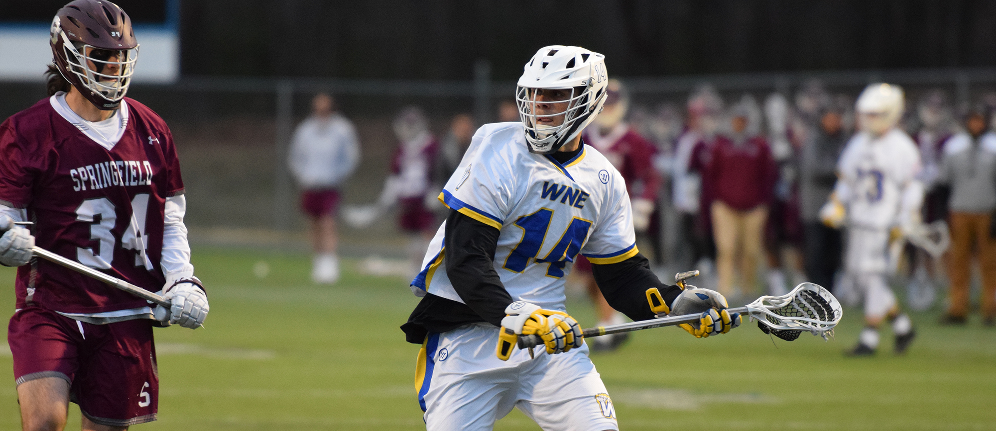 Nick Gamba scored five goals in Western New England's 18-12 loss to Springfield College on Tuesday night. (Photo by Rachael Margossian)