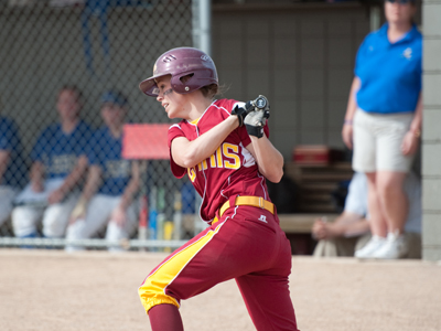 Stephanie Dusendang recorded two of Ferris State's 12 hits in the game-one decision at Lake Superior State.  (Photo by Ed Hyde)