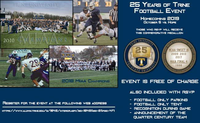 Trine Hosts 25 Years of Football Event Homecoming Weekend