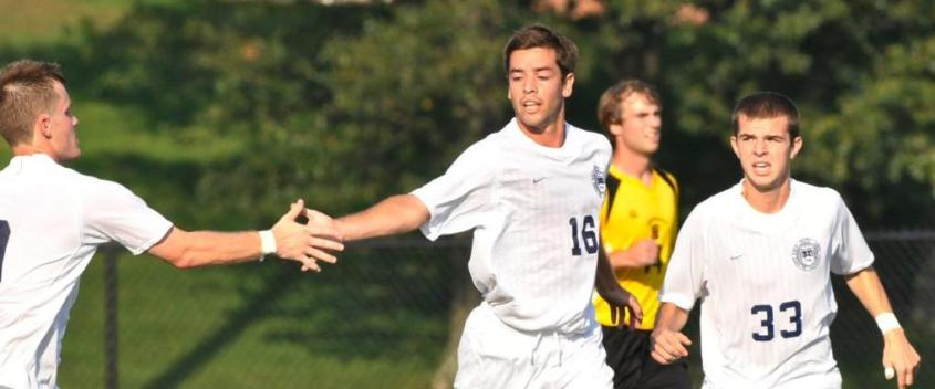 Late outburst lifts men's soccer past Colby-Sawyer, 4-0