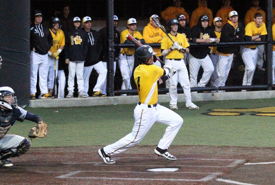 Sophomore Thomas Miller rapped a postseason-best three hits in Adrian's 6-4, 10-inning victory over La Roche on Saturday. (Action photo Special to AdrianBulldogs.com)