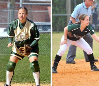 Holly Van Dyke '06 (l.) and Halei Van Dyke '14 span 12 years of four Van Dyke sisters on the Felician softball roster.