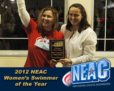 GU women's swim team finishes third at NEAC championships, Polivanchuk named Swimmer of the Year