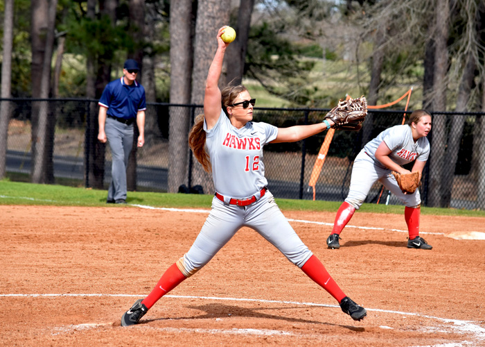 Raina Lanier pitched a three-hitter and struck out eight in a complete-game shutout against Piedmont in Game 1 of Sunday's doubleheader. (Photo by Wesley Lyle)