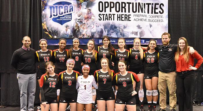 Eagles players and coaches pose for a photo after finishing No. 6 in the national championship volleyball tournament. (Photo by Tom Hagerty, Polk State.)