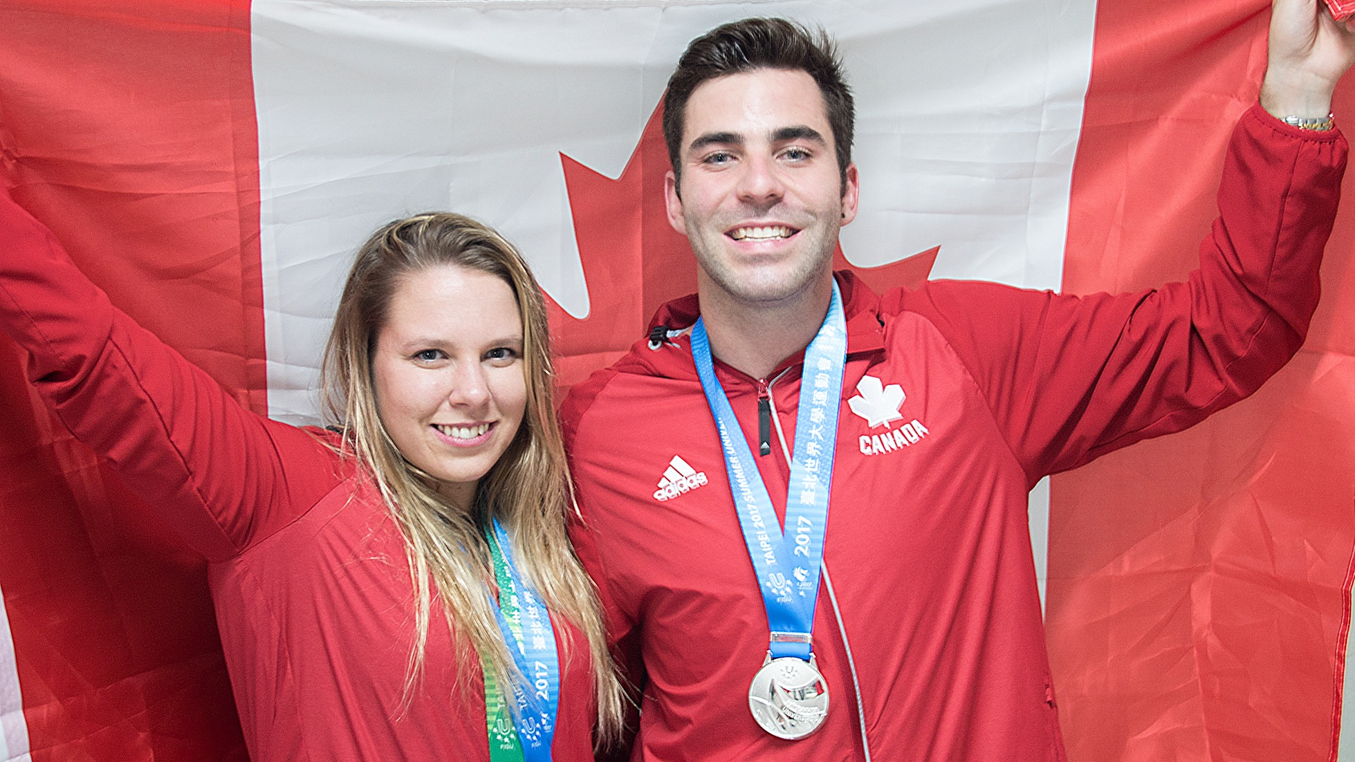 Christopher Cameron / Celina Toth and Tyler Henschel pose with their medals at the 2017 Summer Universiade in Taipei. The duo won the mixed team event to wrap up the diving competition in Taipei.