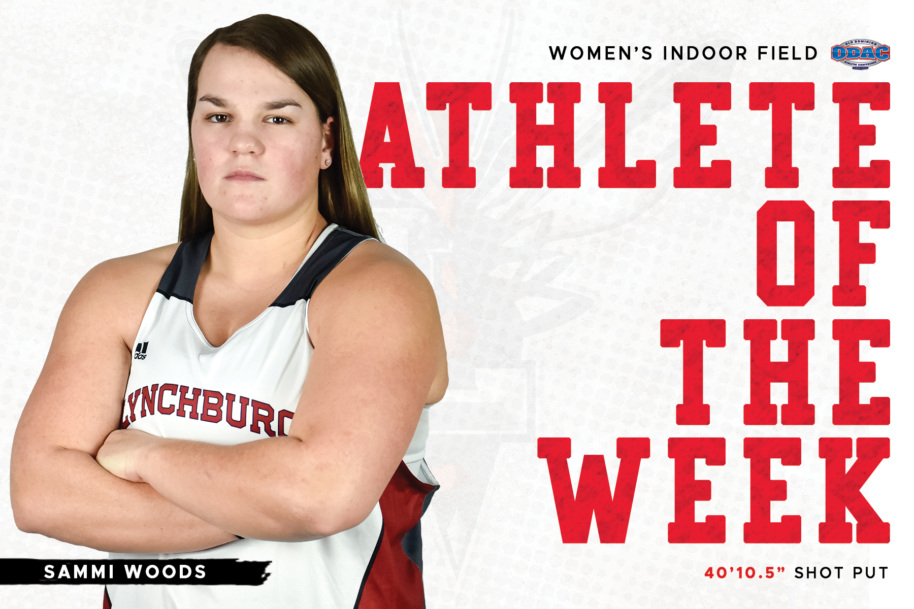 Sammi Woods standing arms crossed in uniform atop white and red athlete of the week graphic