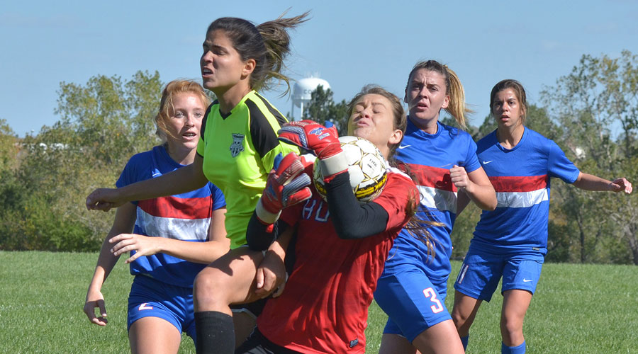 Blue Dragon goalkeeper Ashley Main makes a save on a Cloud County corner kick. The Blue Dragons lost to Cloud County 2-1 on Monday in Concordia. (Photo courtesy Jessica LeDuc/Cloud County Community College)