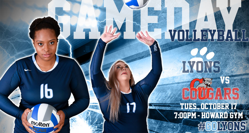 Image promoting Tuesday, October 17th's home volleyball match between the Lyons and Clark University. Pictured are Lyons players Natasha Henry and Brayden Walden.