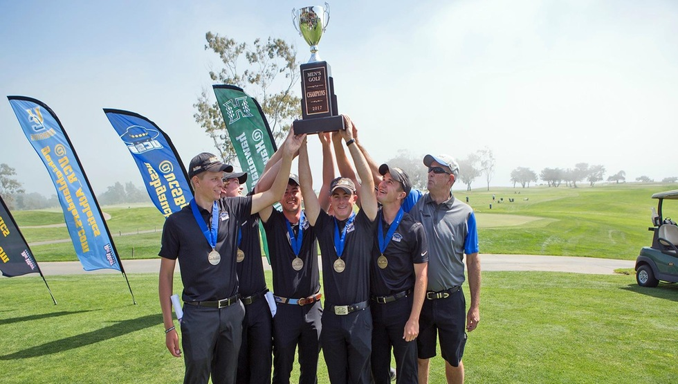 The UCSB men's golf team was able to #RaiseTheCup as it won the 2017 Big West Conference championship. (Photo by Eric Isaacs)