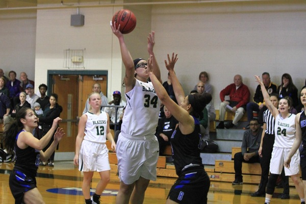 Hawks Outlast Blazers In NECC Women's Hoops Action