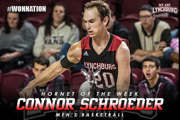 Hornet of the Week: Connor Schroeder, men's basketball. Schroeder shown dribbling a basketball.