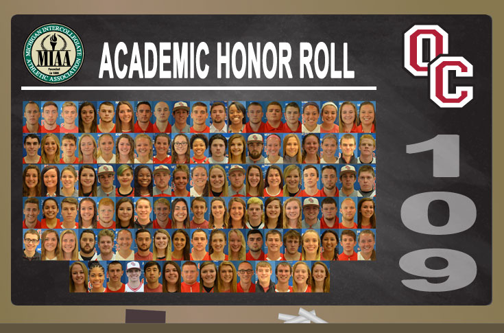 109 Olivet College student-athletes named to the 2016-17 MIAA Academic Honor Roll