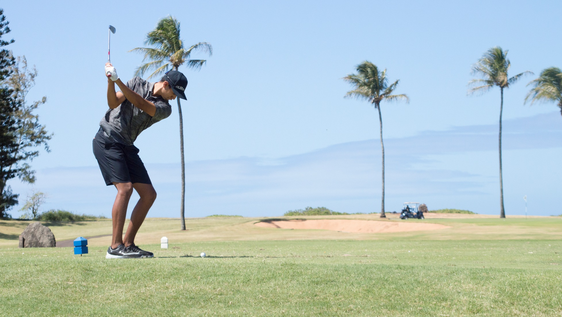 Nicolas Herrera tees off on the 11th hole of the Turtle Bay Resort Fazio Course.