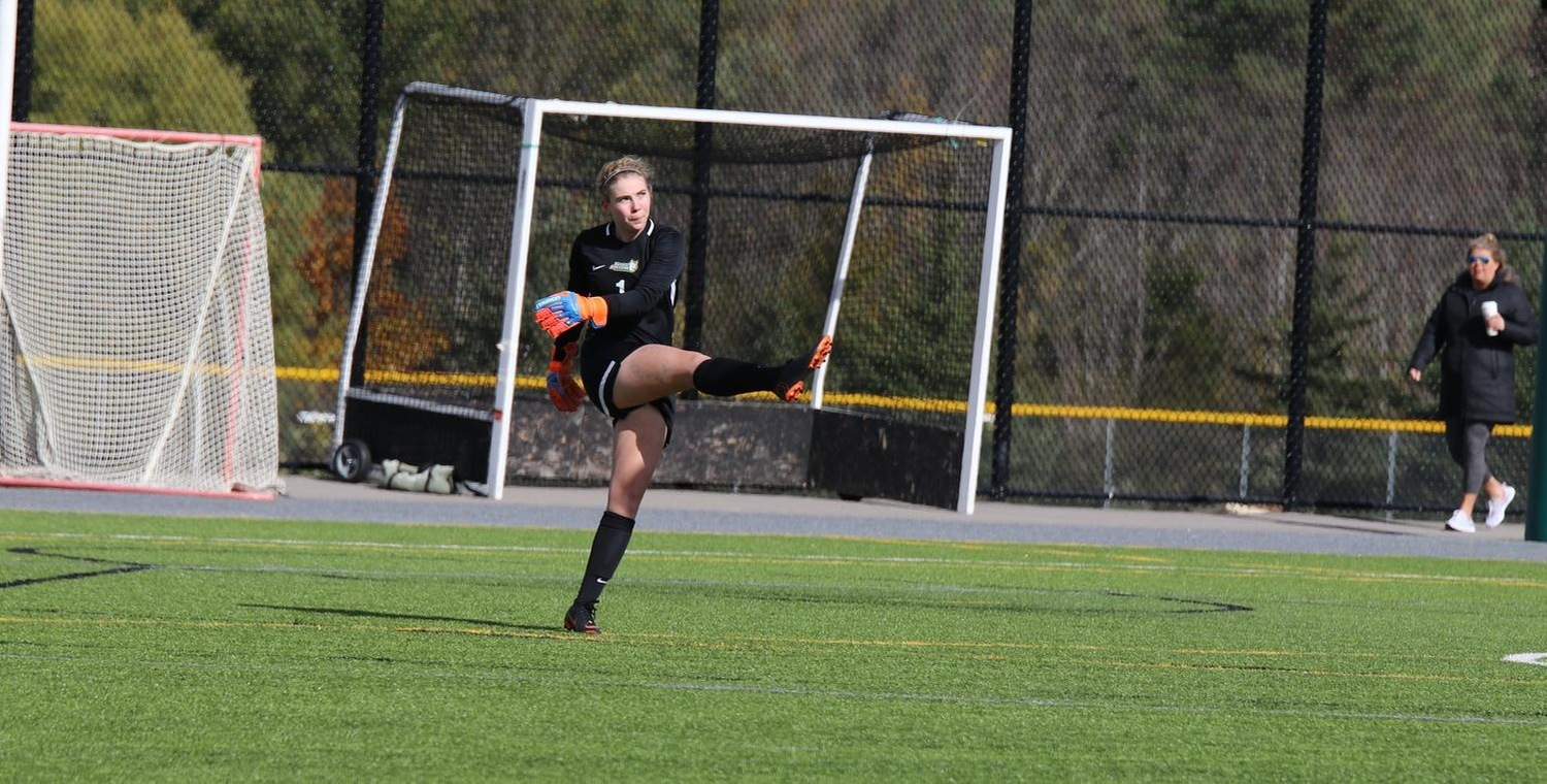 Jessica Pegg (1) made 11 saves in goal for Keuka on Sunday -- Photo by Victoria Baker