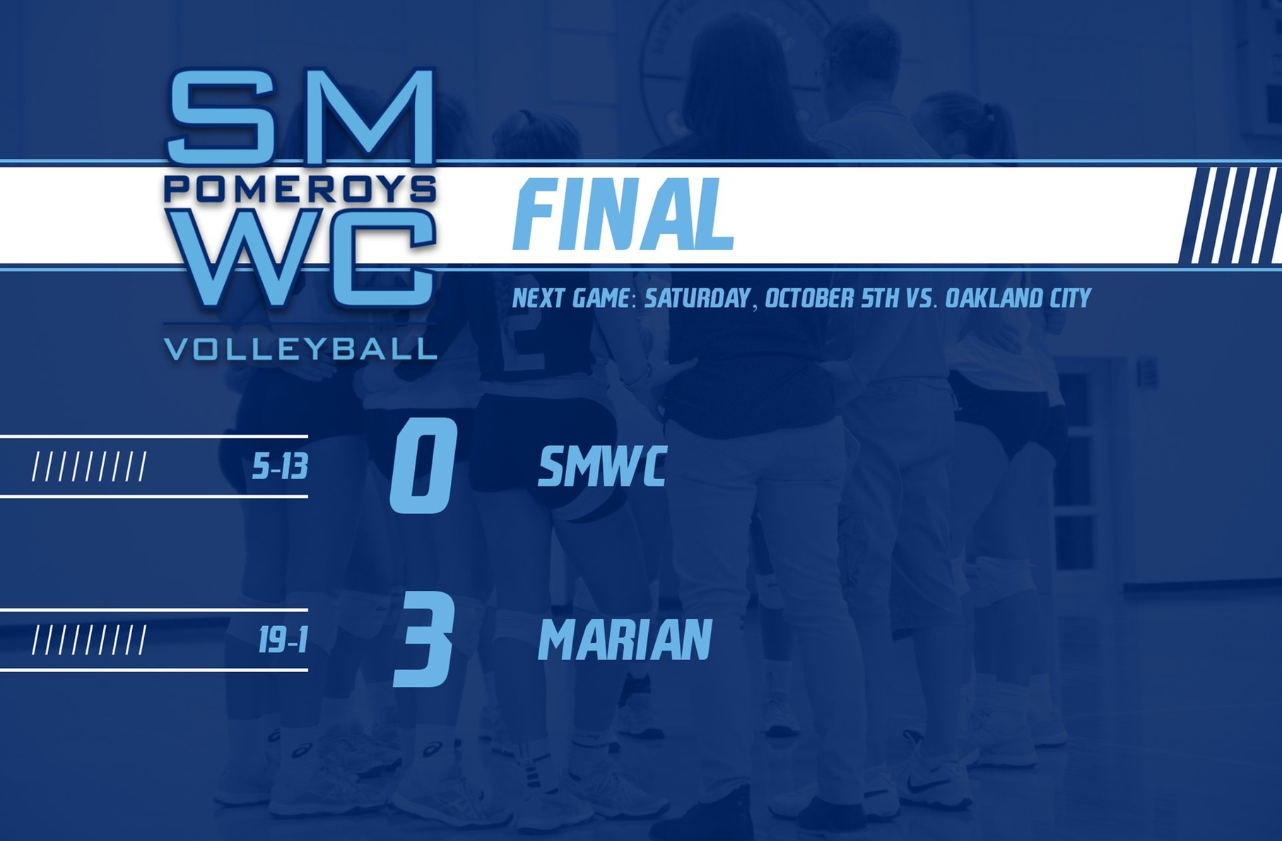 SMWC Volleyball Defeated by #19 Marian University
