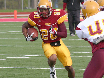 Sophomore tailback Tyler Thomas received the Crimson & Gold Spring Game Players Award for the offense (Photo by Sandy Gholston)