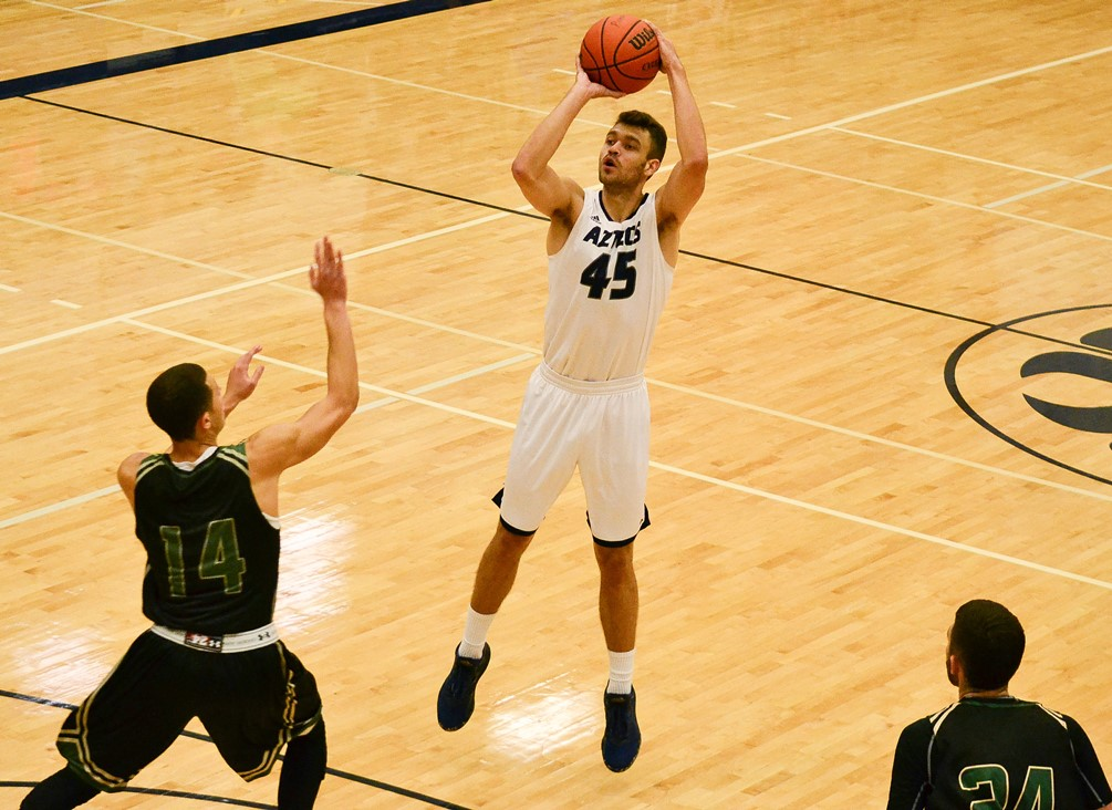 Sophomore Emilio Acedo hit eight 3-pointers and went on to finish with 36 points in Pima's 111-100 win at Eastern Arizona College. The Aztecs are now 15-8 overall and 9-6 in ACCAC conference play. Photo by Ben Carbajal
